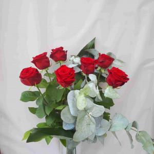Bouquet de 7 roses rouges